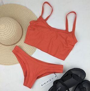 NEW KikiRio Rib Crop Top Bikini